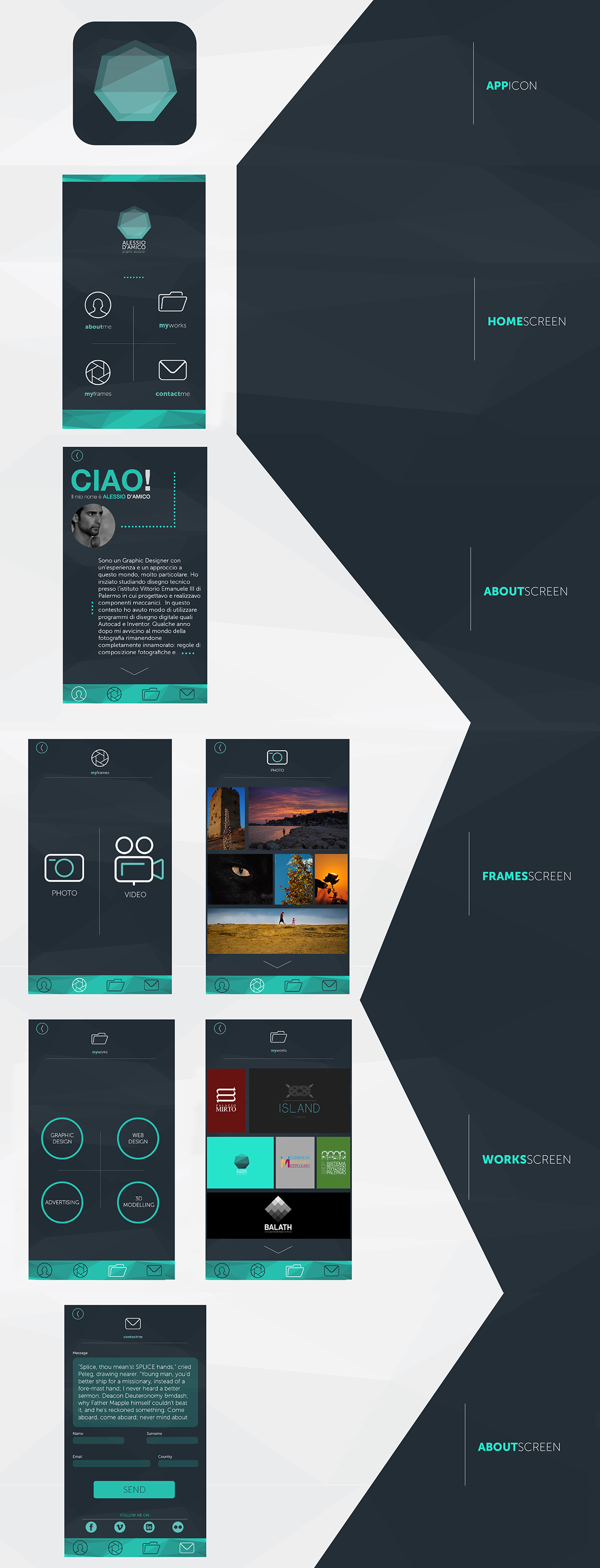 mobile application app ios material design graphic Interface flowchart personal portfolio interaction gestures skills Promotion