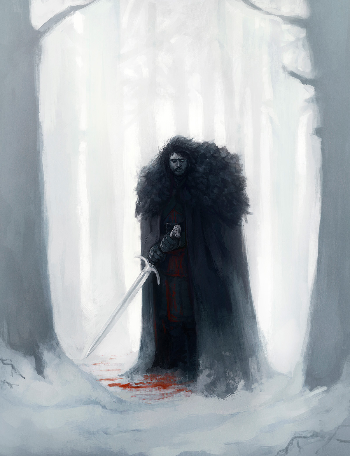 Game of Thrones hbo digital painting George R.R. Martin fantasy medieval warrior undead zombie Terror horror night Fighter Magic   white walker
