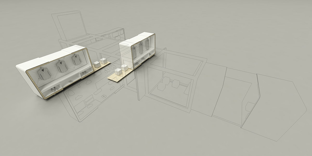 store shop china lining Popup architecture container concept Fashion