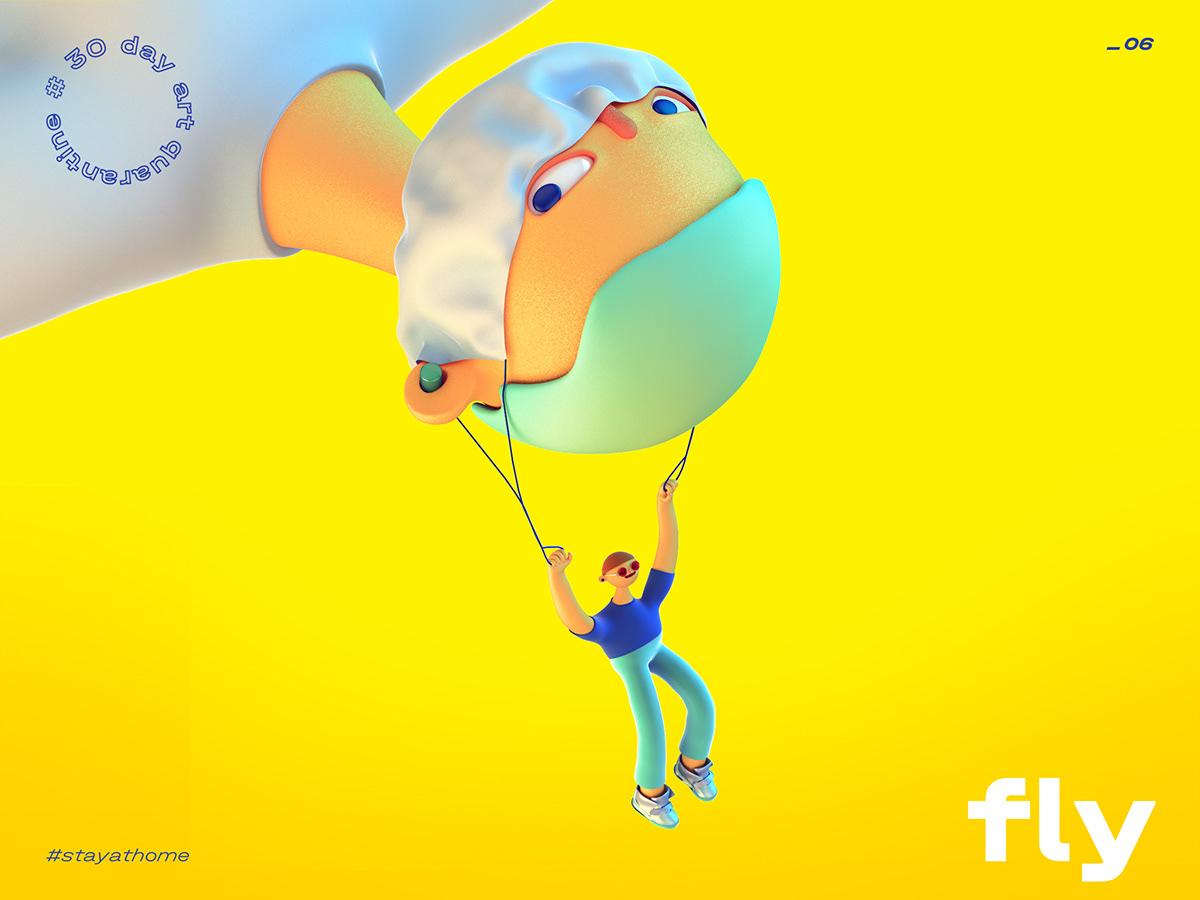 3d illustration cartoon paragliding mask