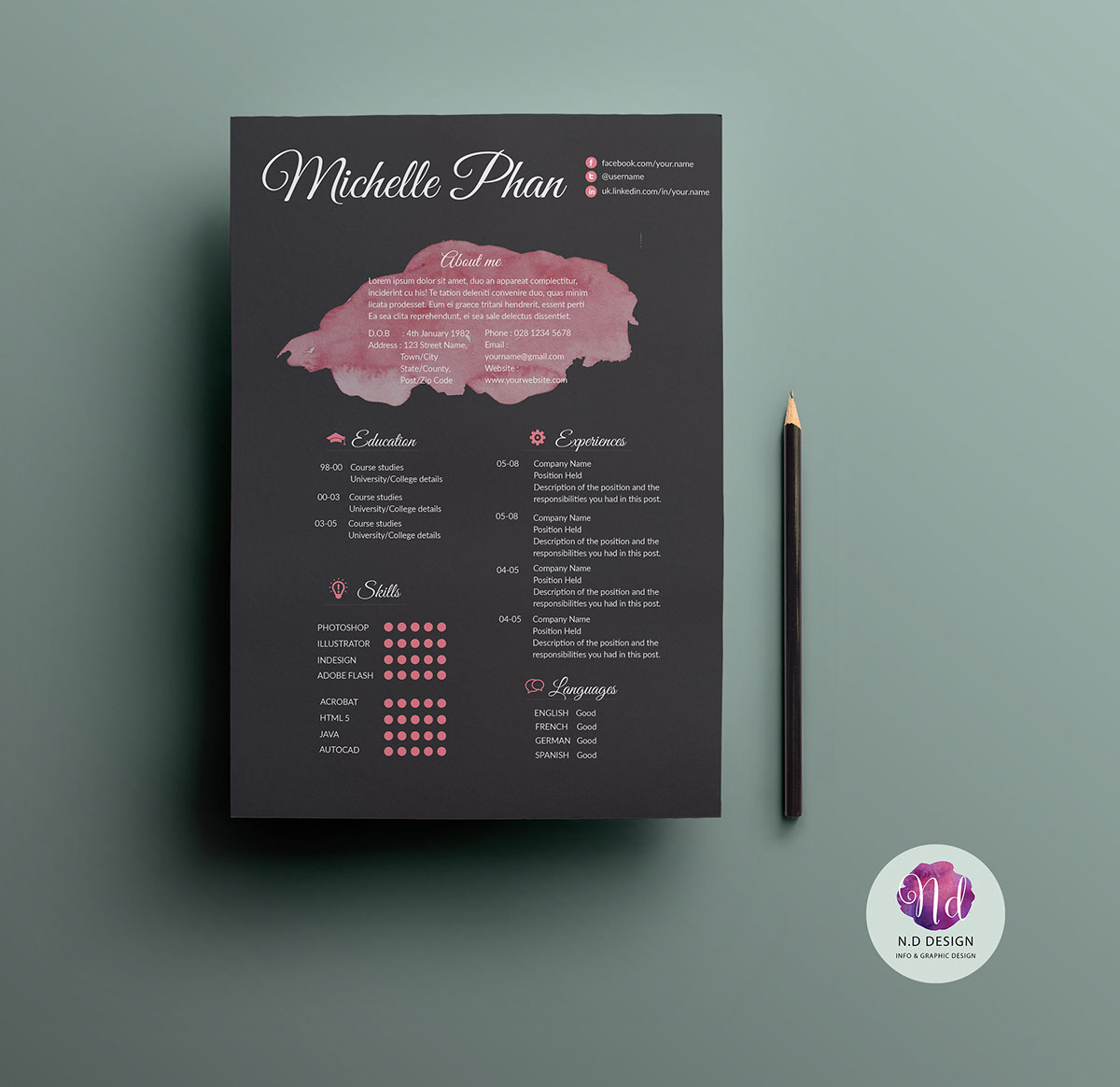 CV template ( 2 color options ) on Behance