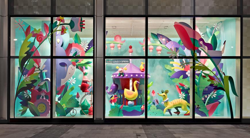 spring butterflies vector art geometric vector pastel zeppelin air balloon Flowers Window Display visual marketing merchandise Flying clouds campaign Korea