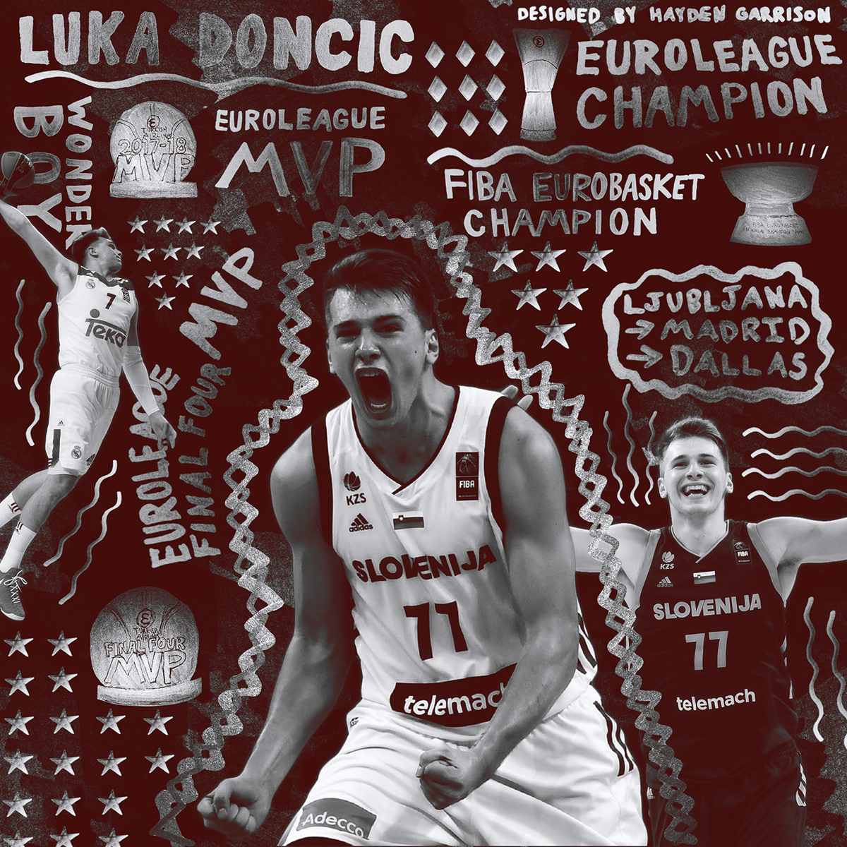 save off fd6d2 f64e6 Luka Doncic Silver Sharpie Design on Behance