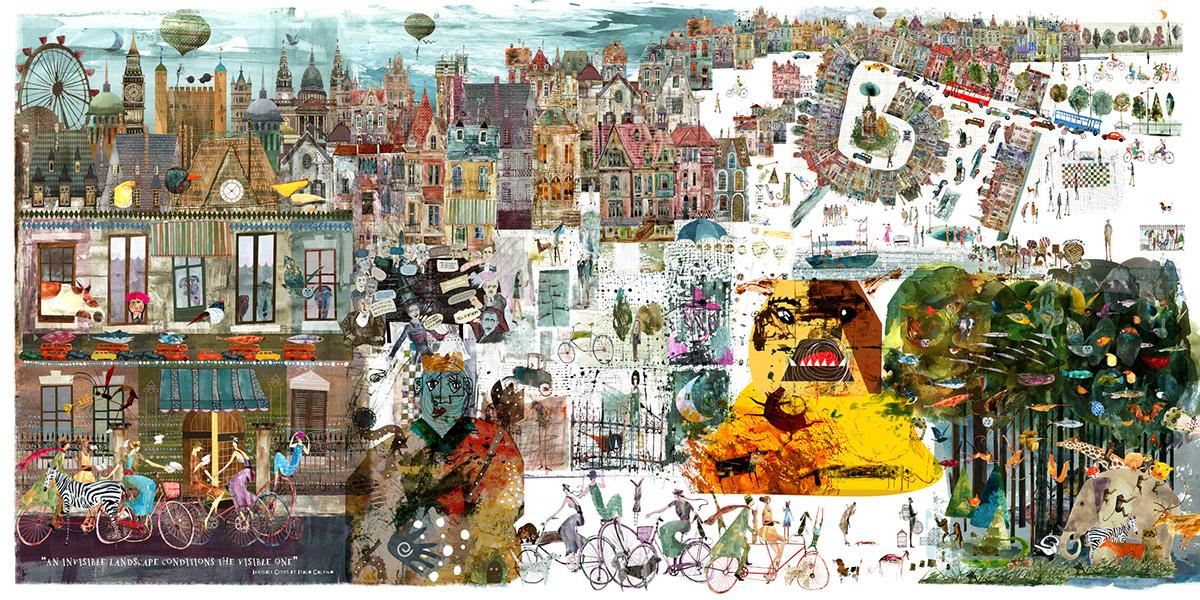 cityscape animals houses people gouache ink Magic   dream fantasy