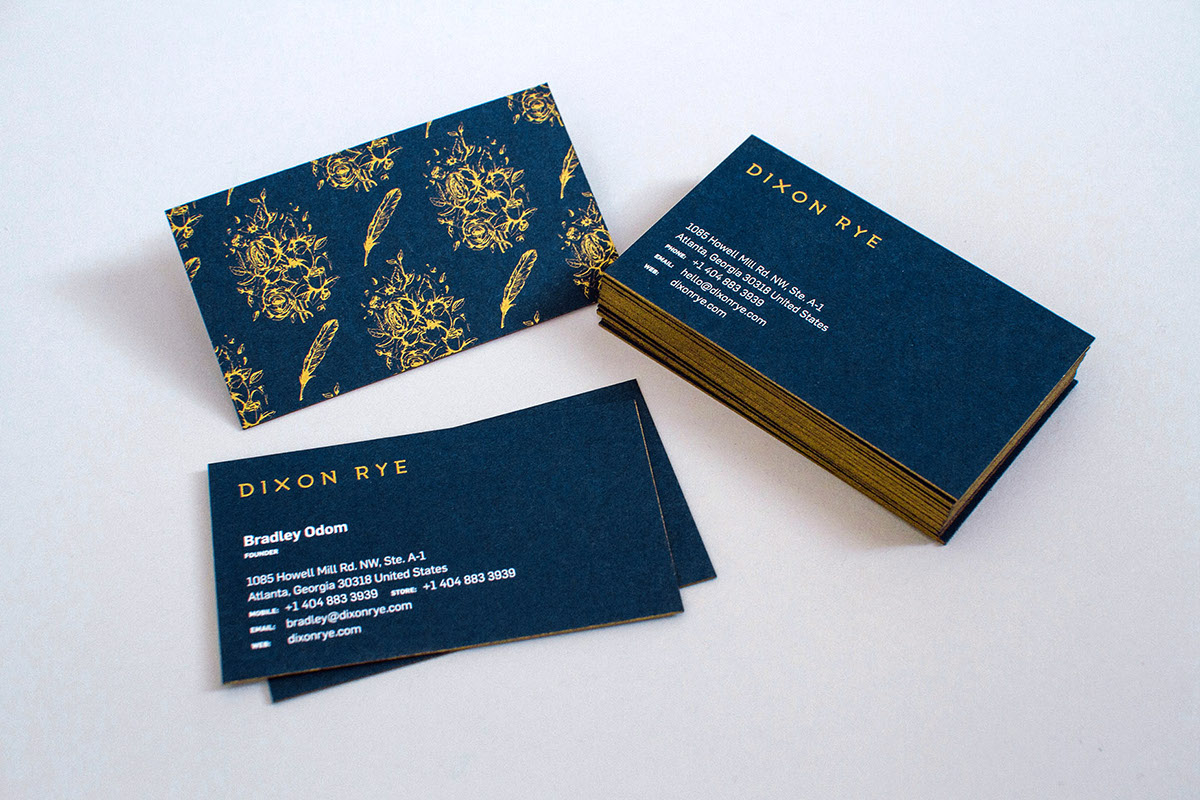 Dixon rye on aiga member gallery the business cards use french papers nightshift blue with a metallic gold pantone screen printed application of the logo to the front and the custom magicingreecefo Image collections