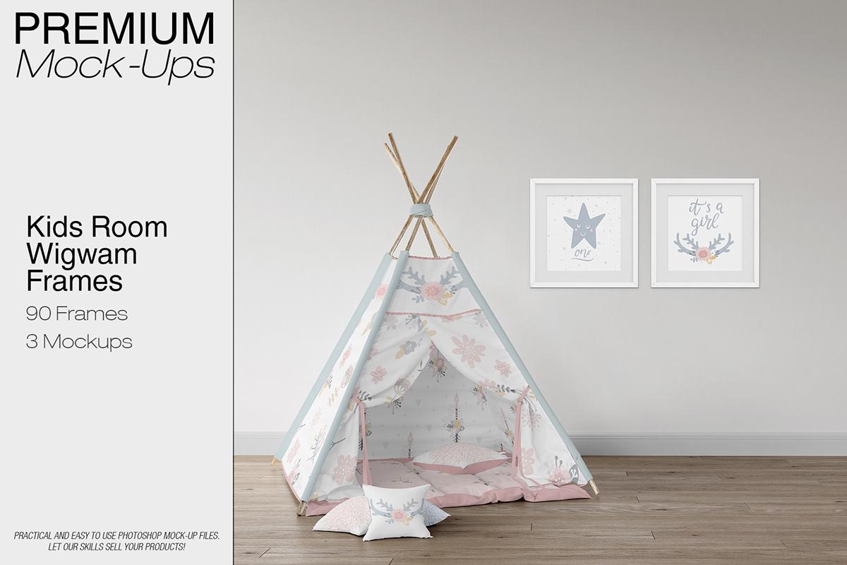 Kids Room - Wigwam Wall & Frames Mockup on Student Show