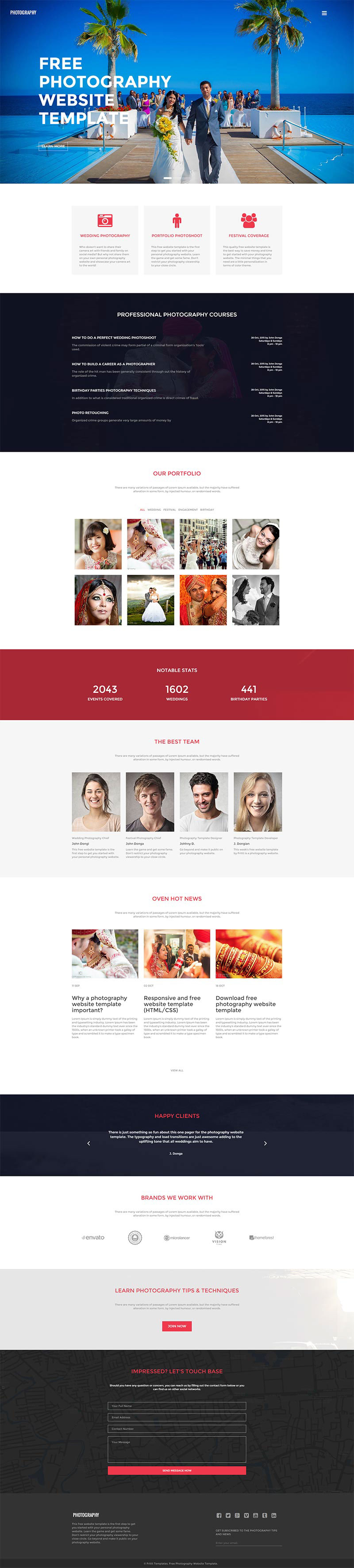 Free Photography Website Template Photography On Behance - Free photography website templates