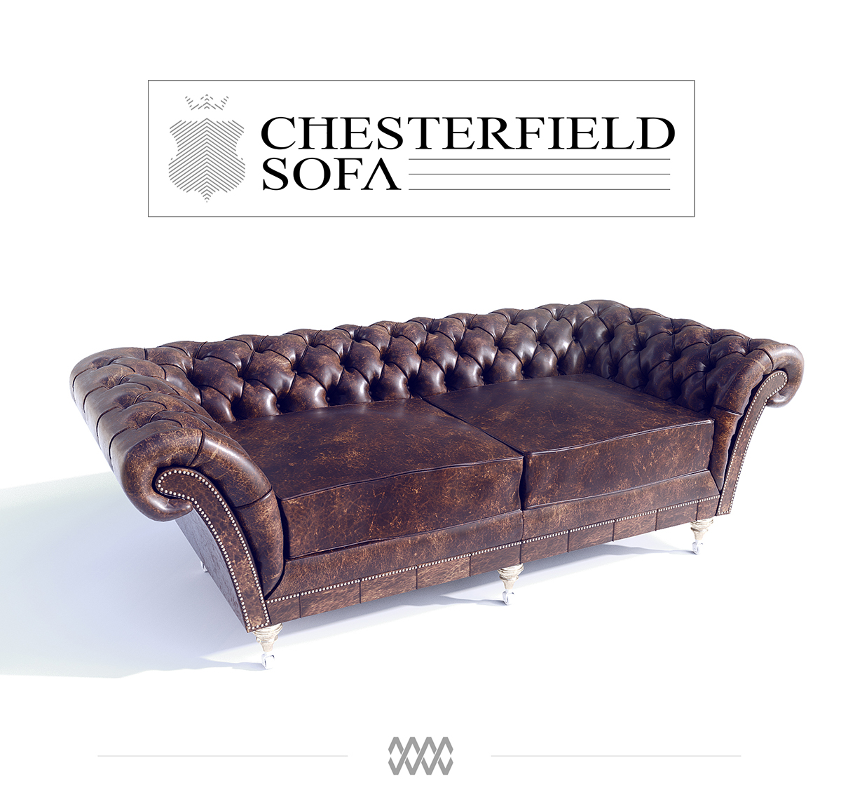 chesterfield sofa free 3D model on Behance