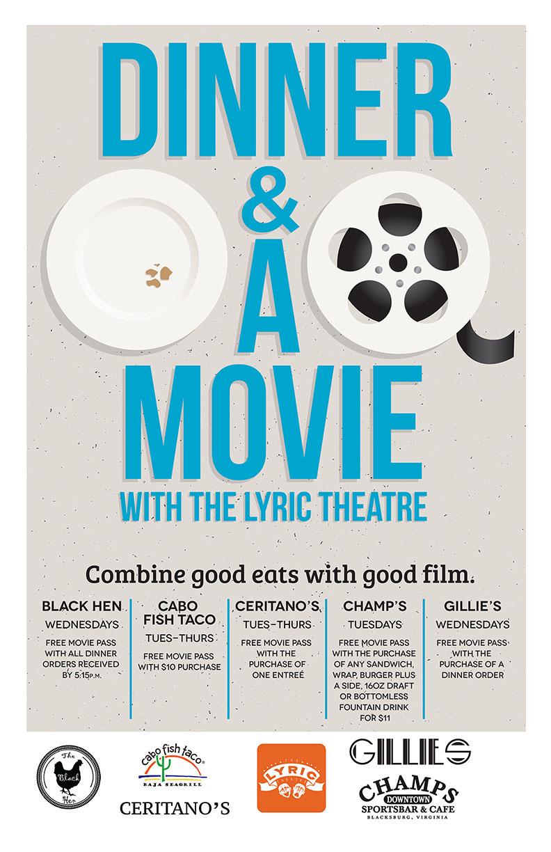 dinner amp a movie promo poster on behance
