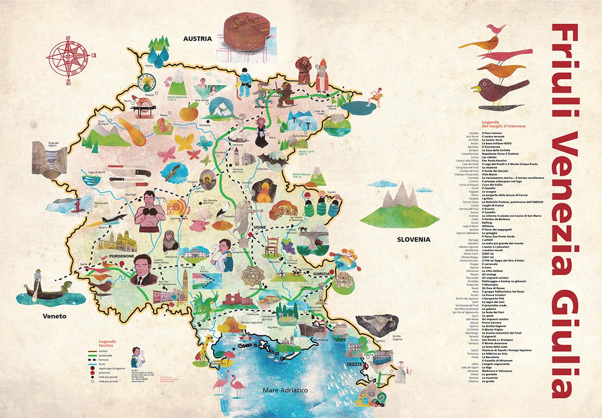 Cartina Friuli Venezia Giulia.Mappa Illustrata Del Friuli Venezia Giulia On Behance