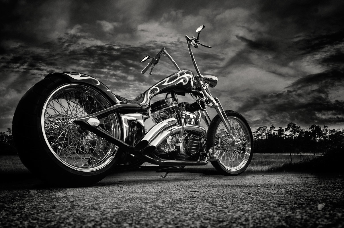 motorcycle custom bike black & white