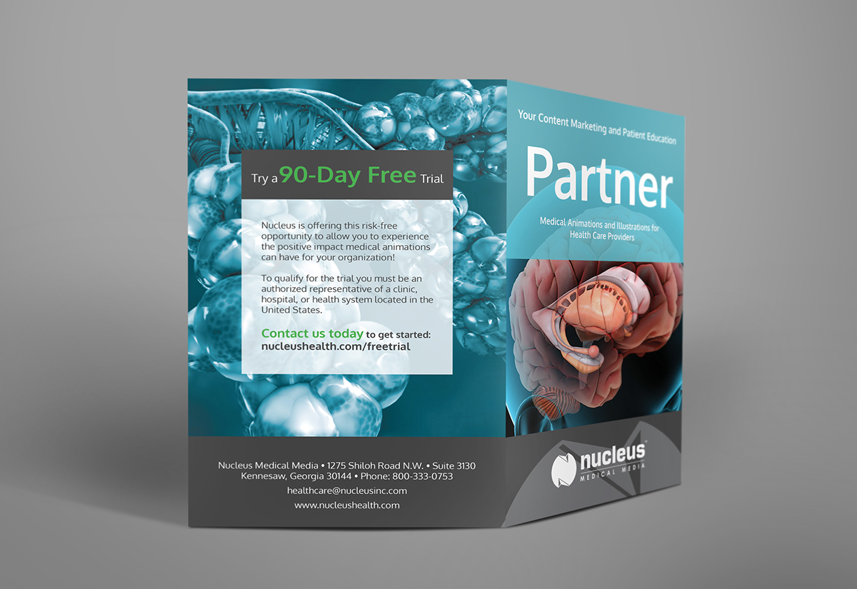 medical healthcare bifold Bi-fold brochure Pharma brain lungs healthcare brochure partner nucleus patient education