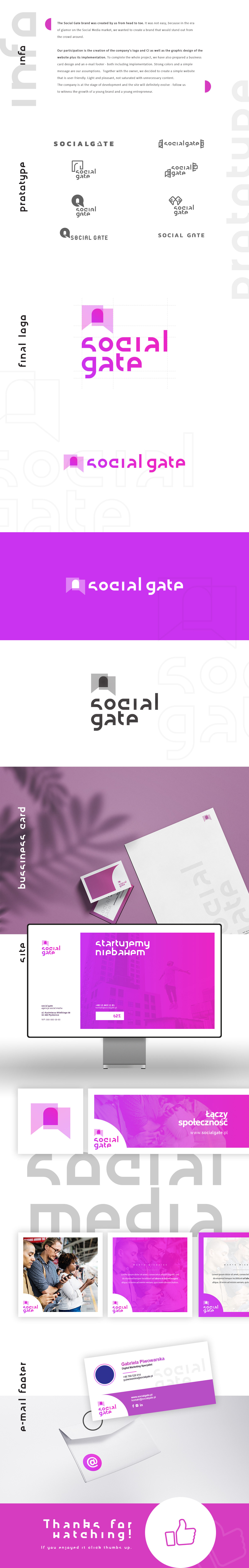 business card e-mail footer facebook key visual layouts page in progress pink purple social marketing styl