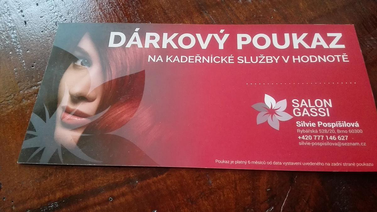 salon gift card pink women hair print