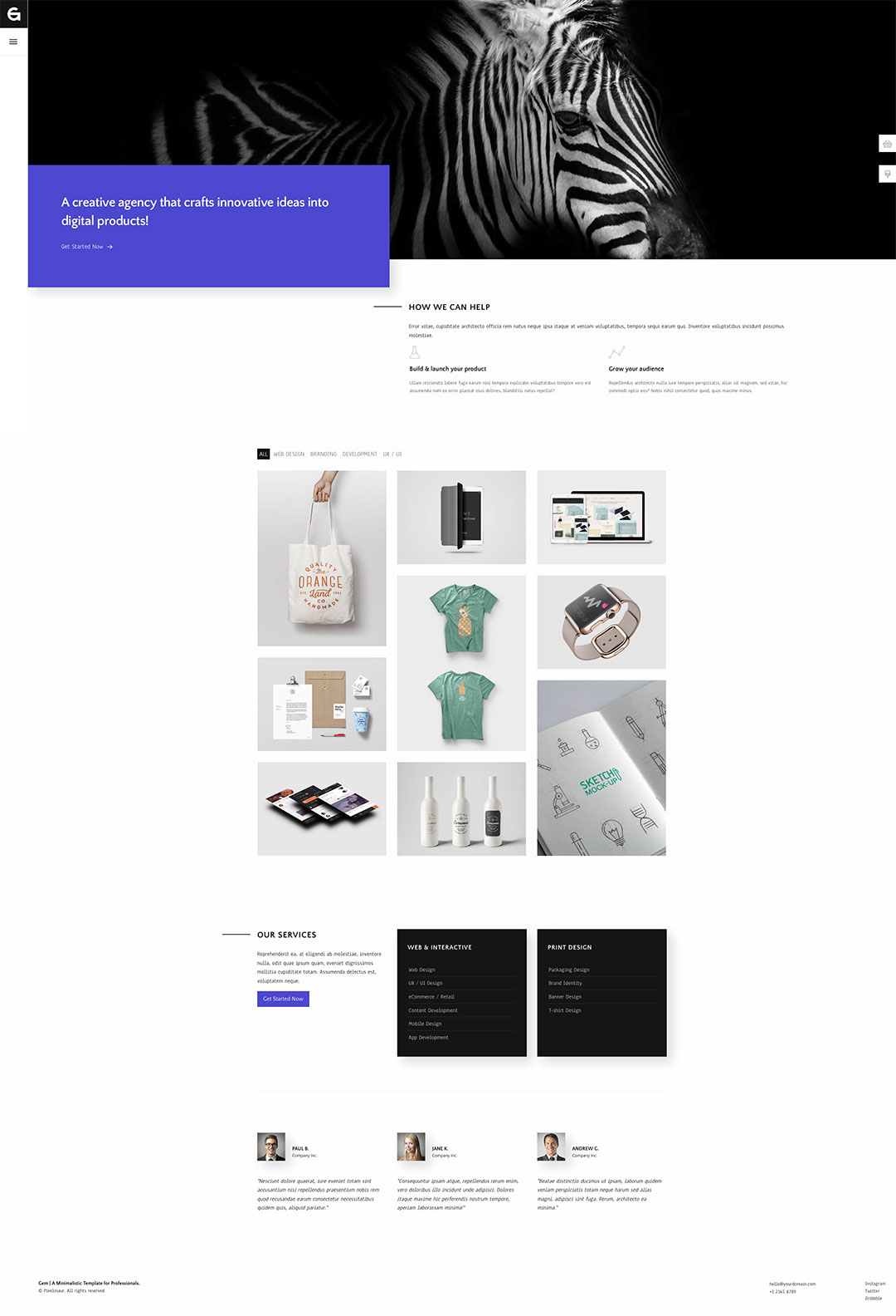 Gem - Foundation 6 Agency Template by Pixelosaur on Behance