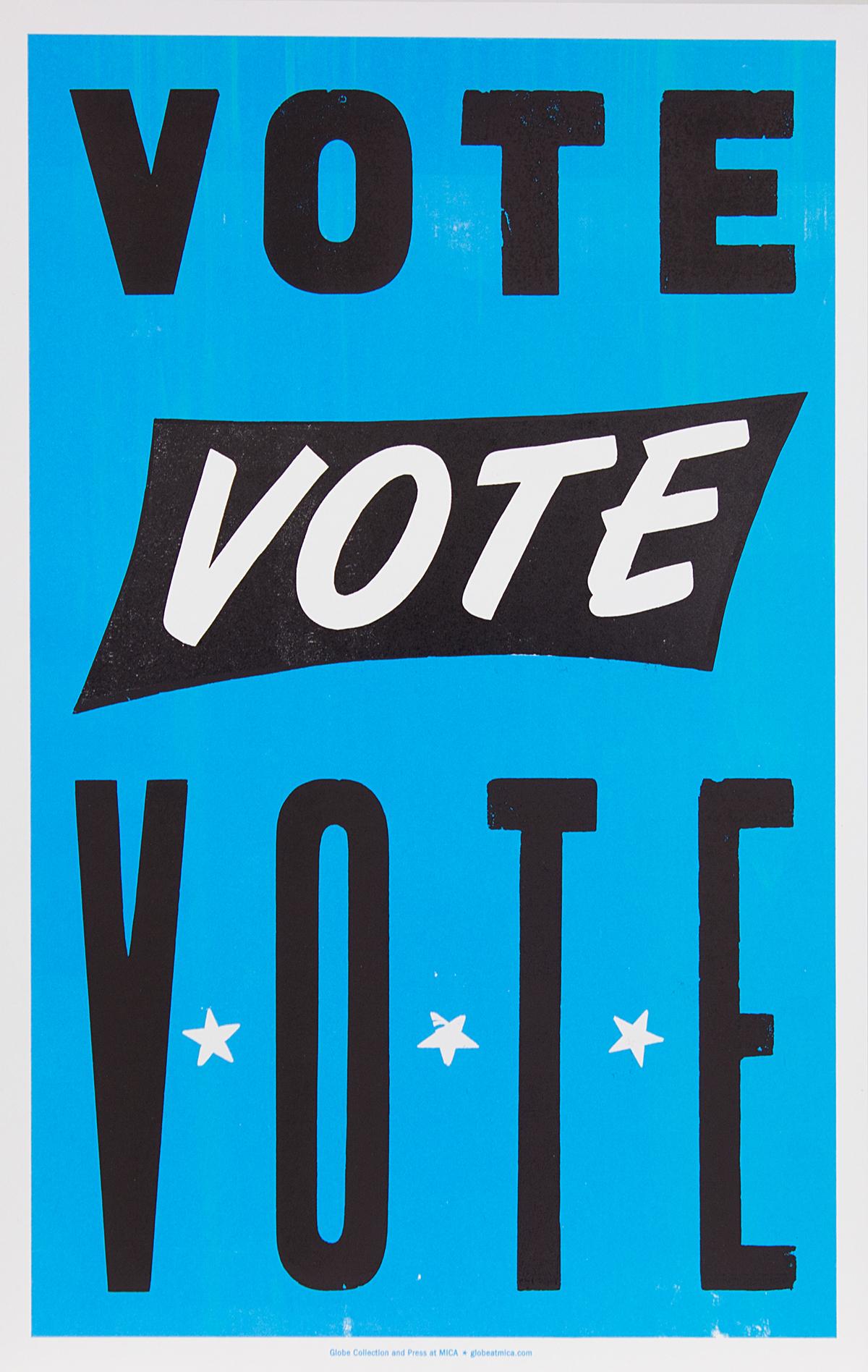 vote poster Election Trump hillary globe letterpress screen print politics