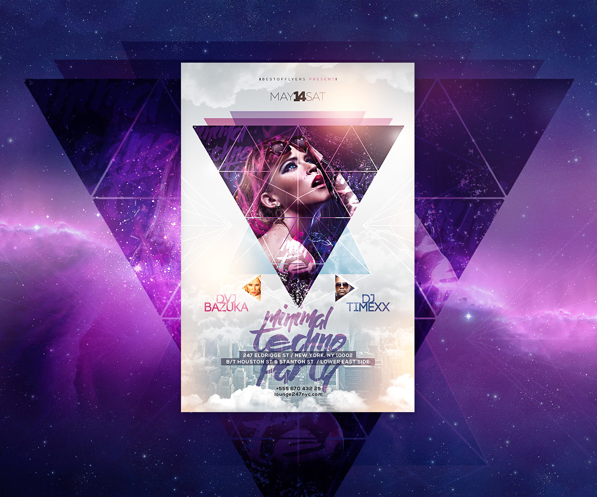 minimal techno party free psd flyer template on behance - Free Psd Flyer Templates