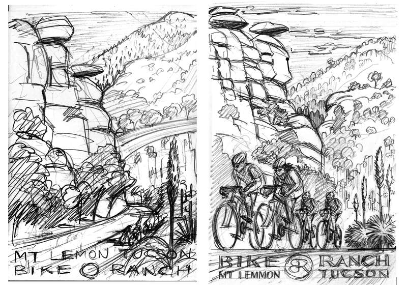 Pencil roughs of poster designs