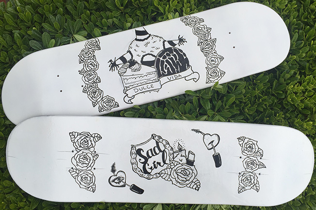Hand drawn skate decks on Behance