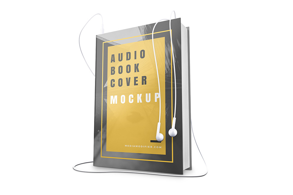 audiobook cover with headphones mockup template on behance