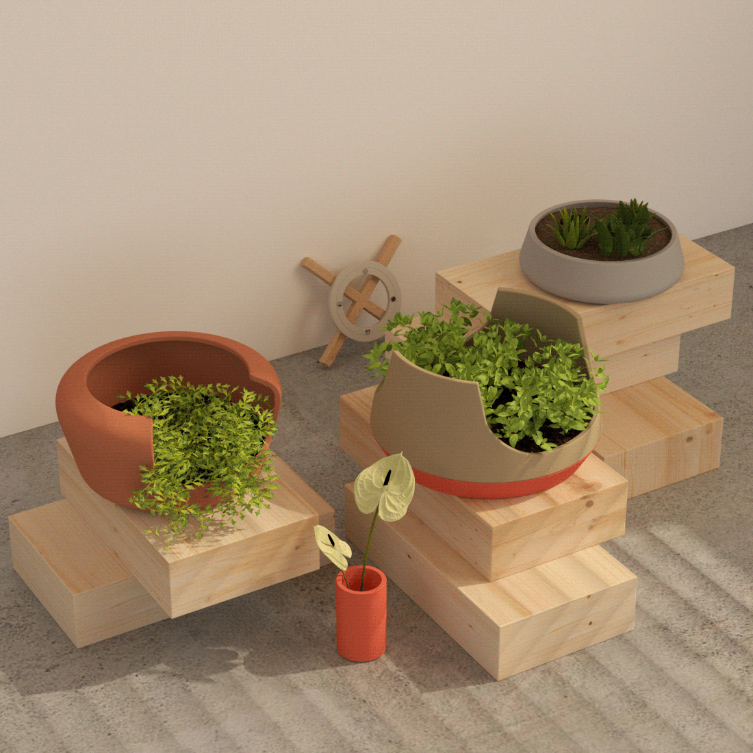 Optimize the space inside the house for different plants in a singular modular system