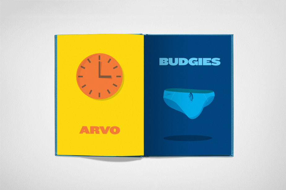 illustrations a to z aussie slang slang  Illustration icons blue orange yellow