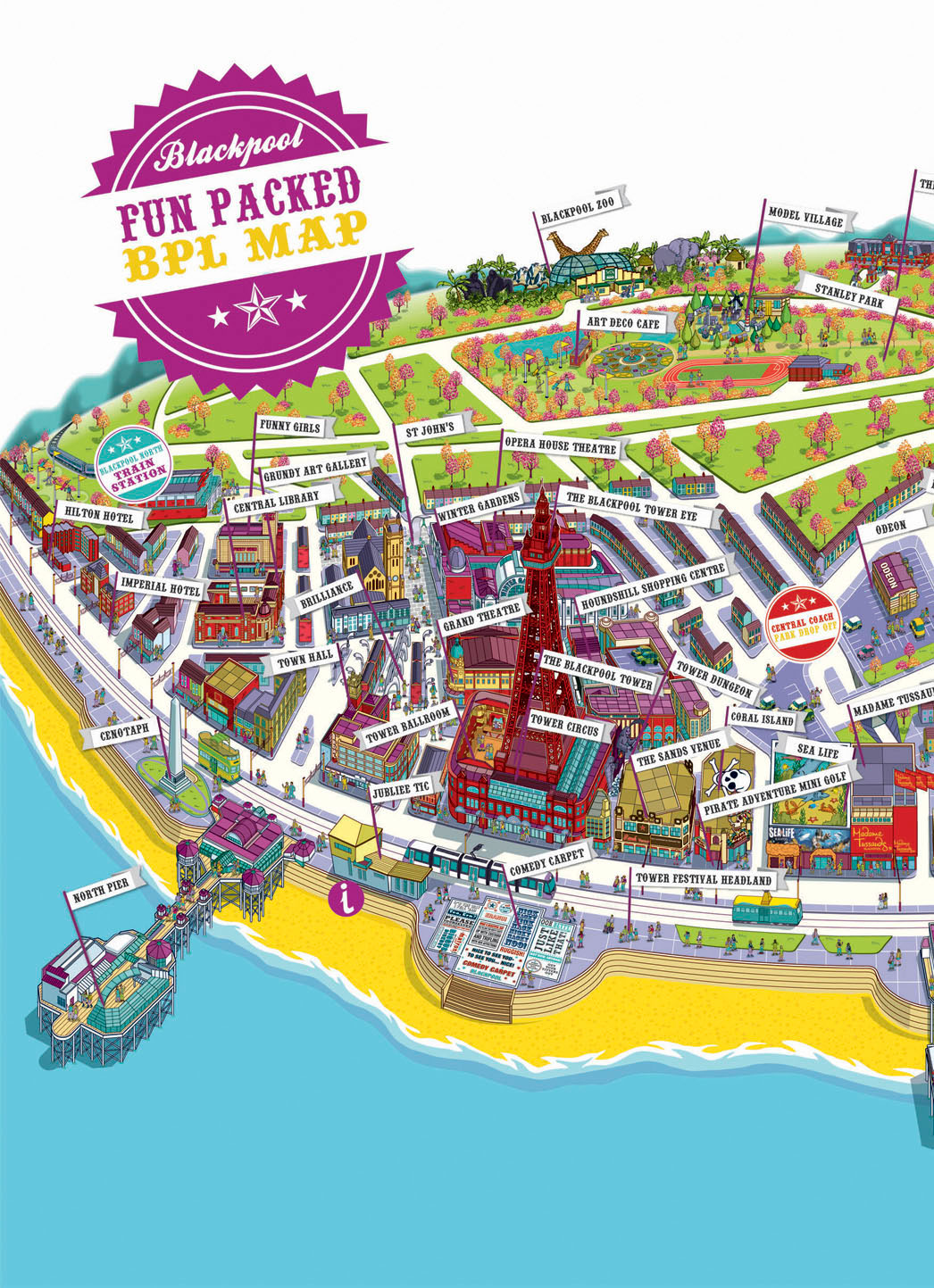 blackpool resort map illustration for visit blackpool on behance