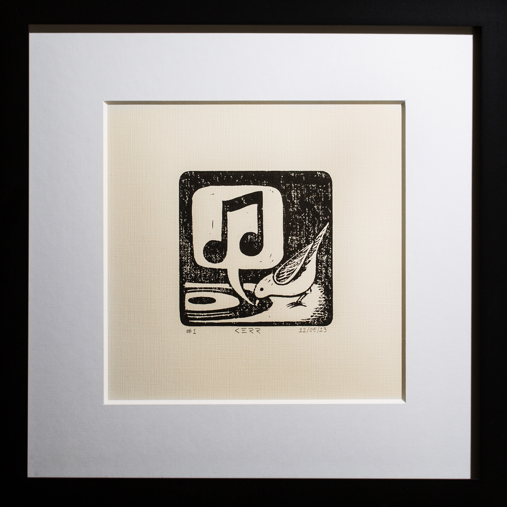 linoleum block printing block print music theme Photography Theme bird camera rolleiflex linocut