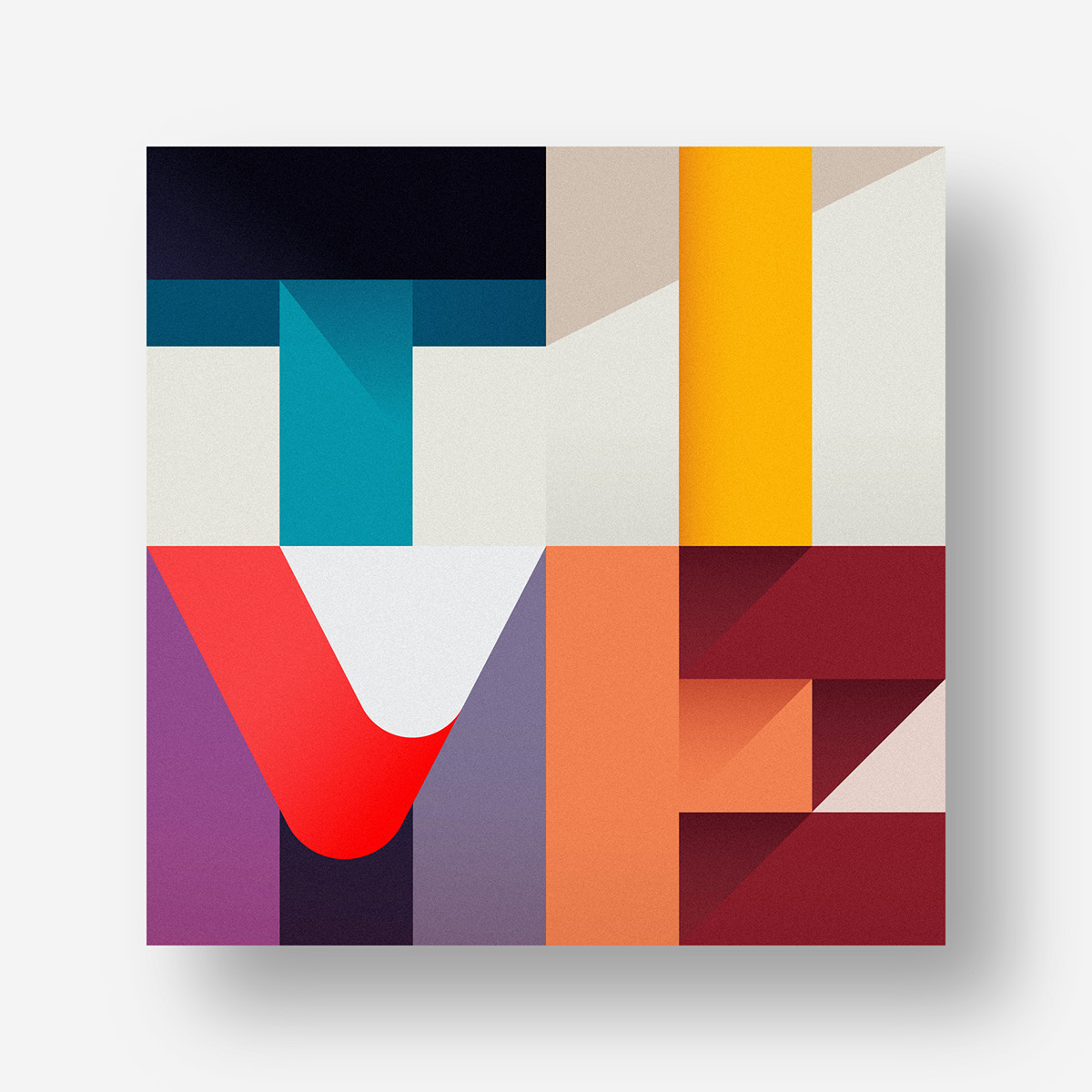 magazine editorial shapes geometric lettering flat colors type font Shadows solid minimal