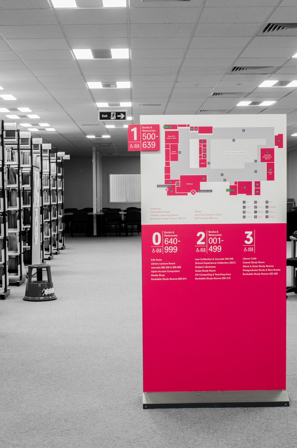 library wayfinding infographic Signage University map user experience floor plan information environmental graphic disability