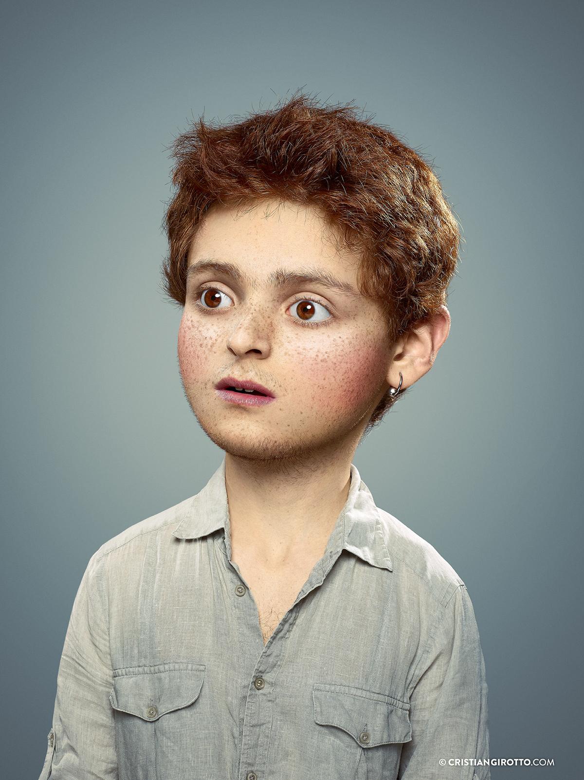 Adobe Portfolio Cristian Girotto retouch Photo Manipulation  photoshop Photo Montage Post Production portrait kid  enfant exterieur outer child caricature