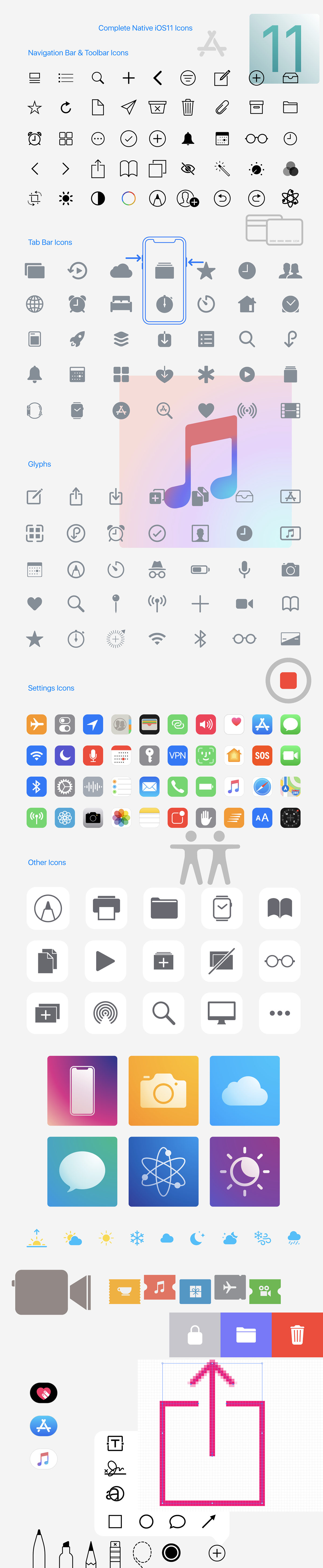 Complete Native iOS10 & iOS11 Icons for FREE Download on