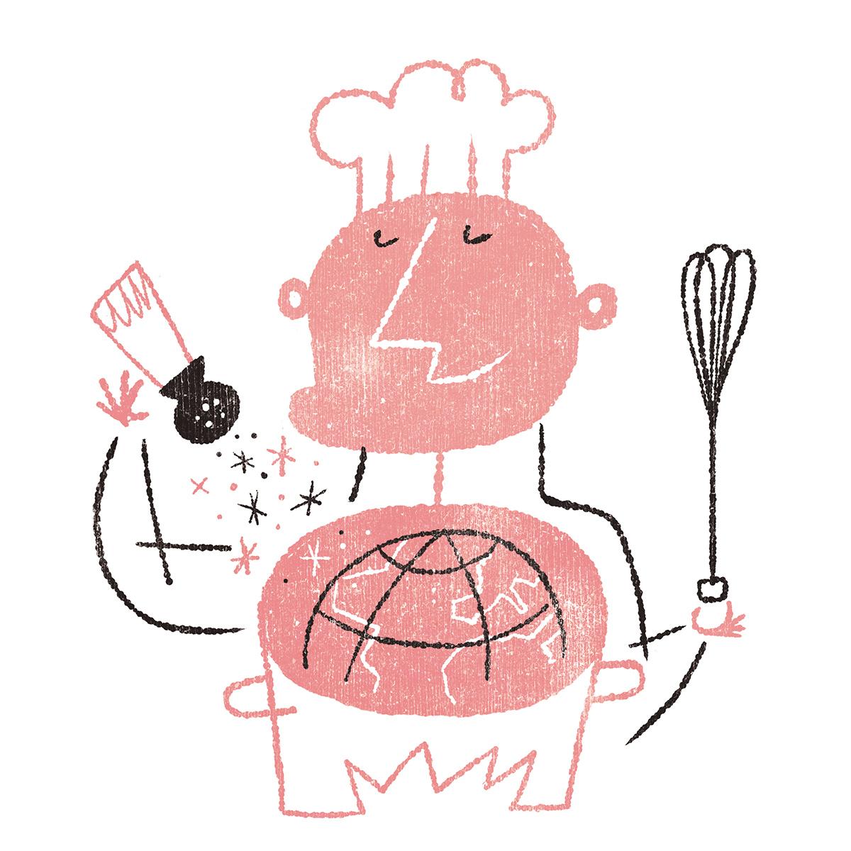 gastro restaurants gourmet wine chef cocina del hambre magazines revistas editorial gentleman kitchen Food  inspire Editorial Illustration