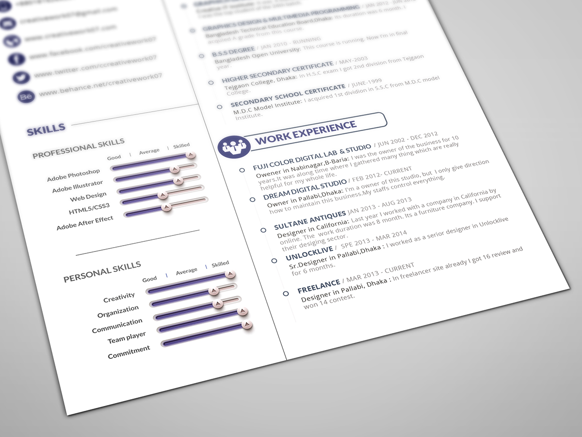 free 2 page resume template on behance