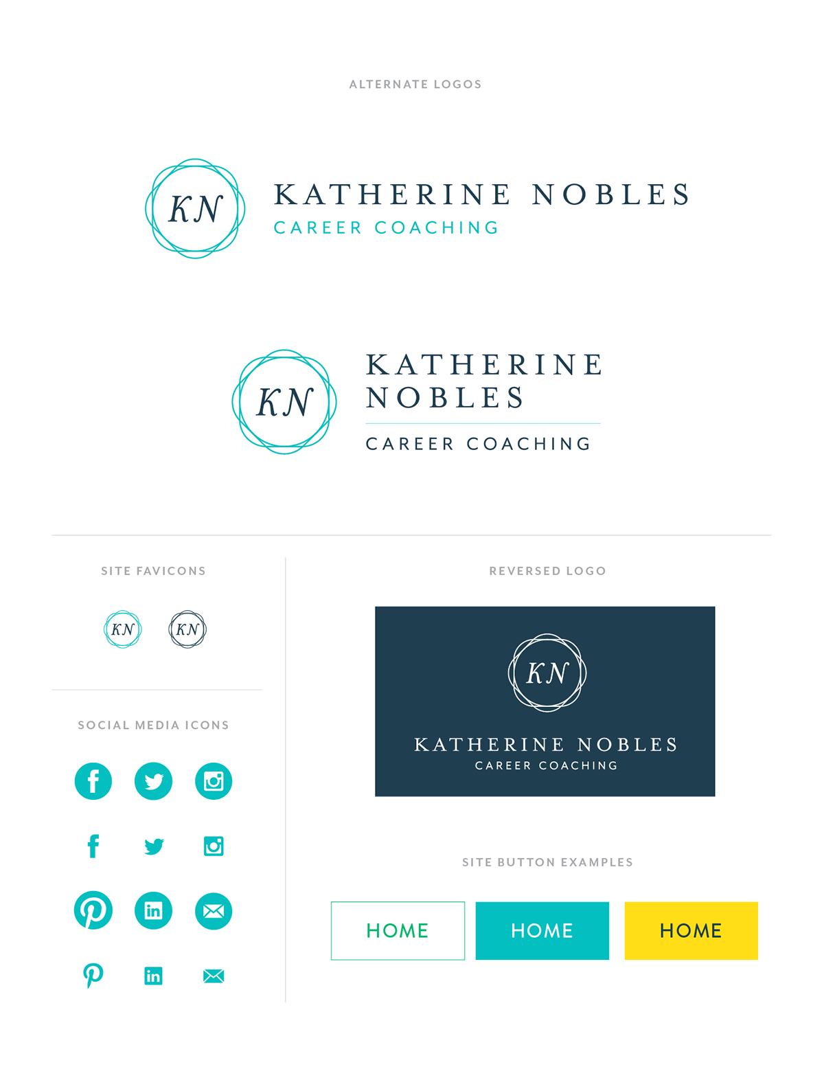 katherine nobles career coaching branding on aiga member gallery branding materials for katherine nobles a young career coach working emerging professionals these designs represent katherine s personality and