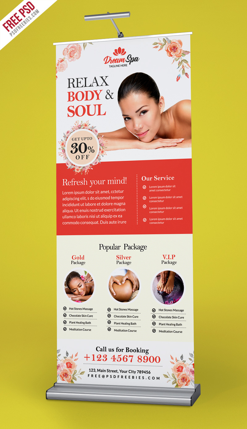 Free Psd Beauty And Spa Roll Up Banner Template Psd On Behance