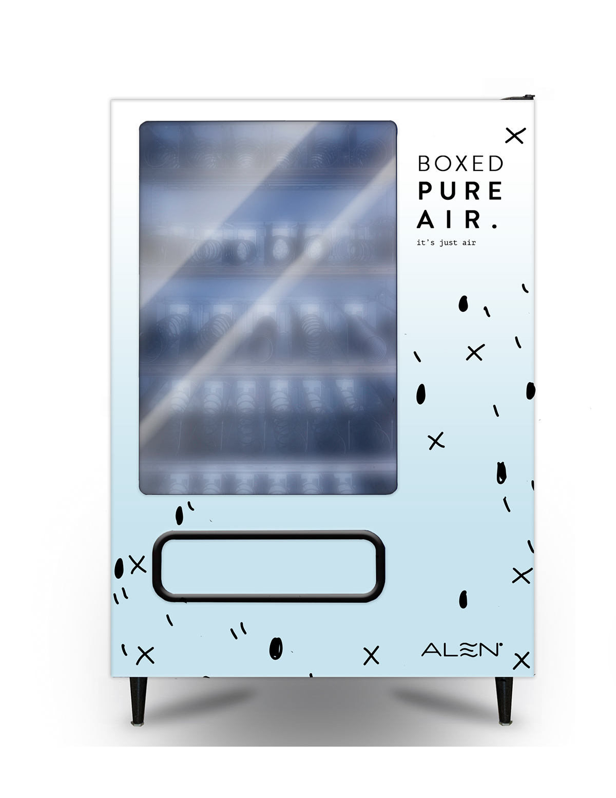 every time a person clicks on the vending machine curious as to what does boxed pure air means a little box will be dispensed by the machine - Alen Air Purifier