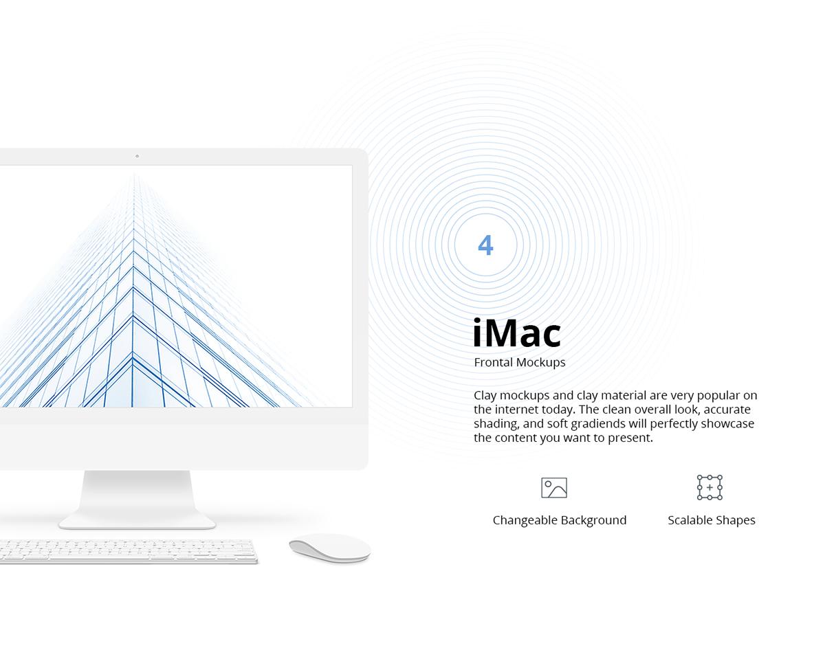 iPhone, iPad, Macbook Clay Mockups - PSD, Sketch on Wacom