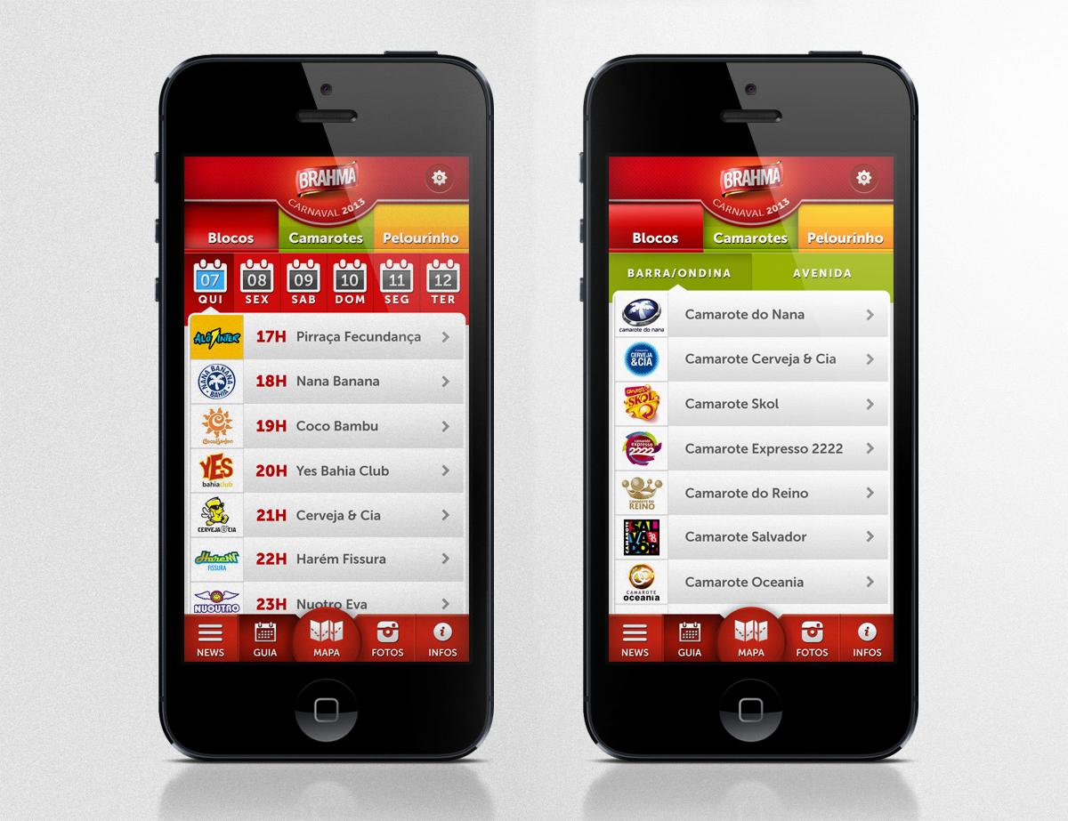 brahma app iphone Carnival Carnaval salvador Brazil Brasil map ios android ux UI Entertainment