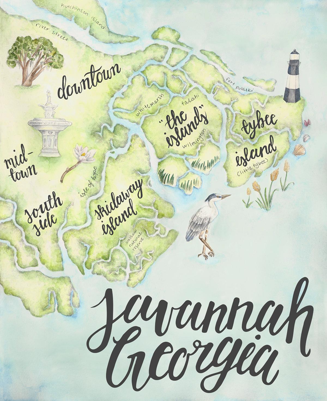 Savannah Ga Map Savannah Ga Map on Behance Savannah Ga Map