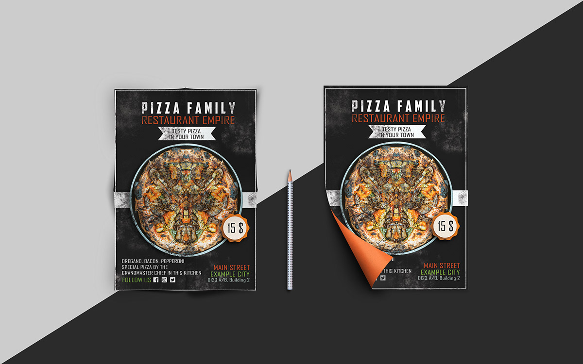 pizza flyer design template on pantone canvas gallery