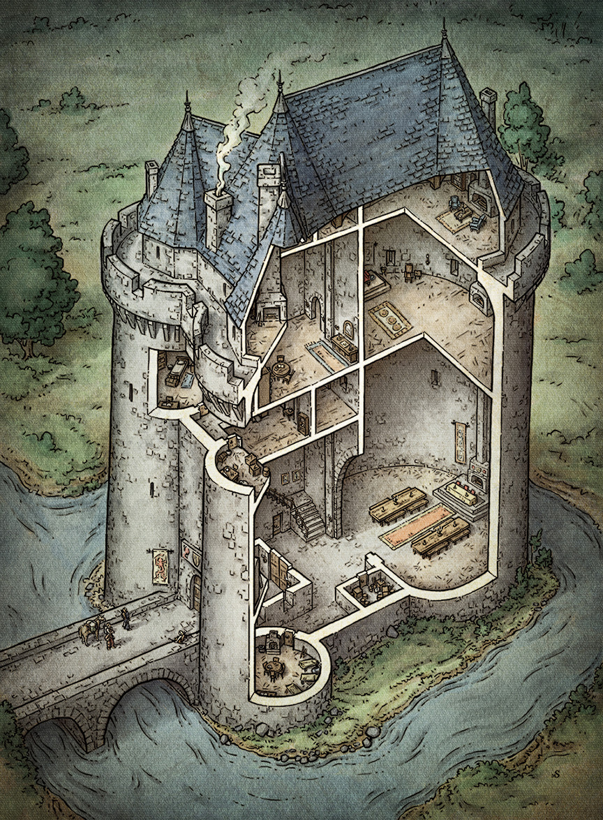 Castle Cutaway Illustration