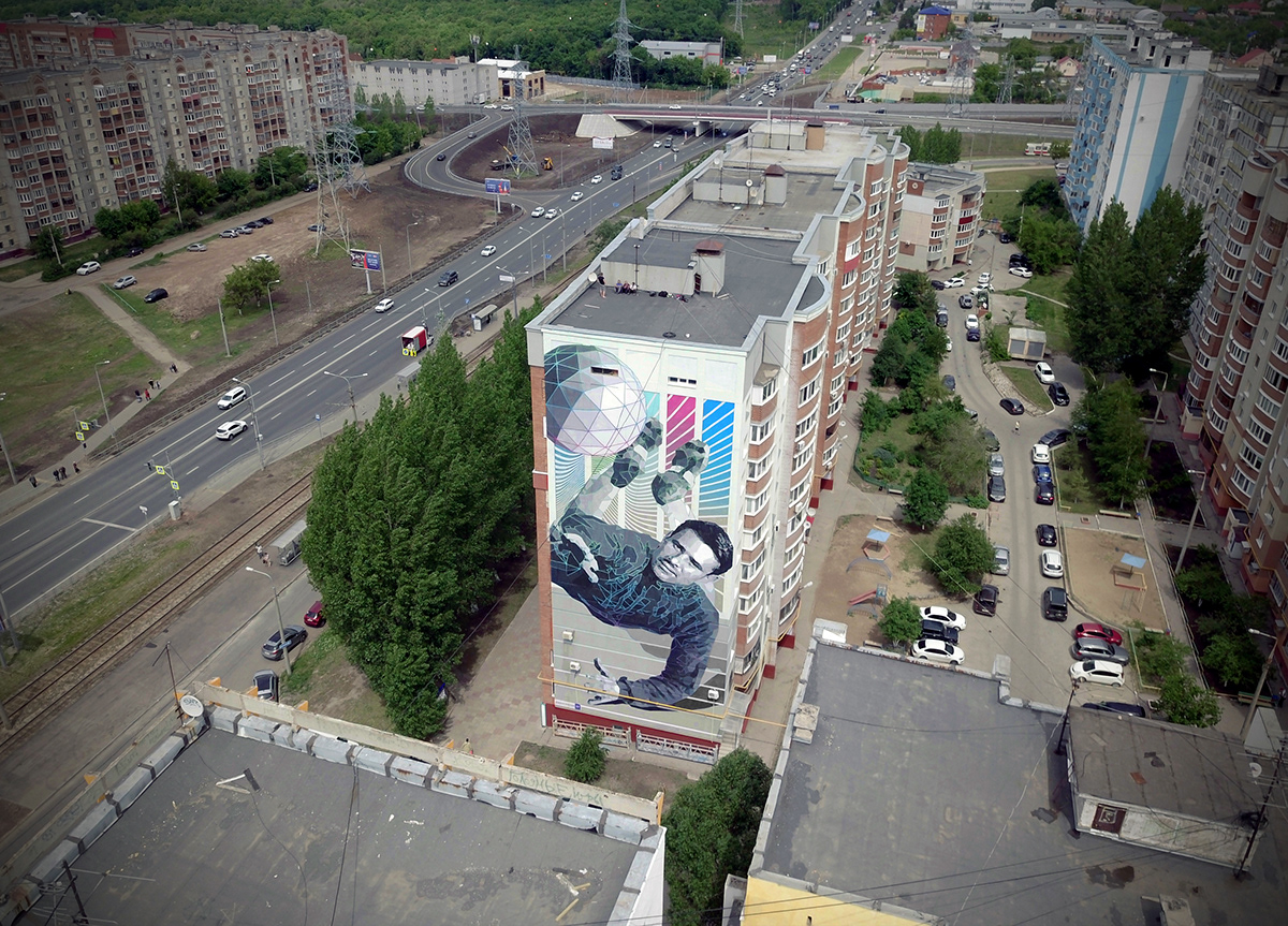 FIFA black spider Lev Yashin  goalkeeper History of Champions samara Digital Aesthetics mural art World Cup Russia stfnv