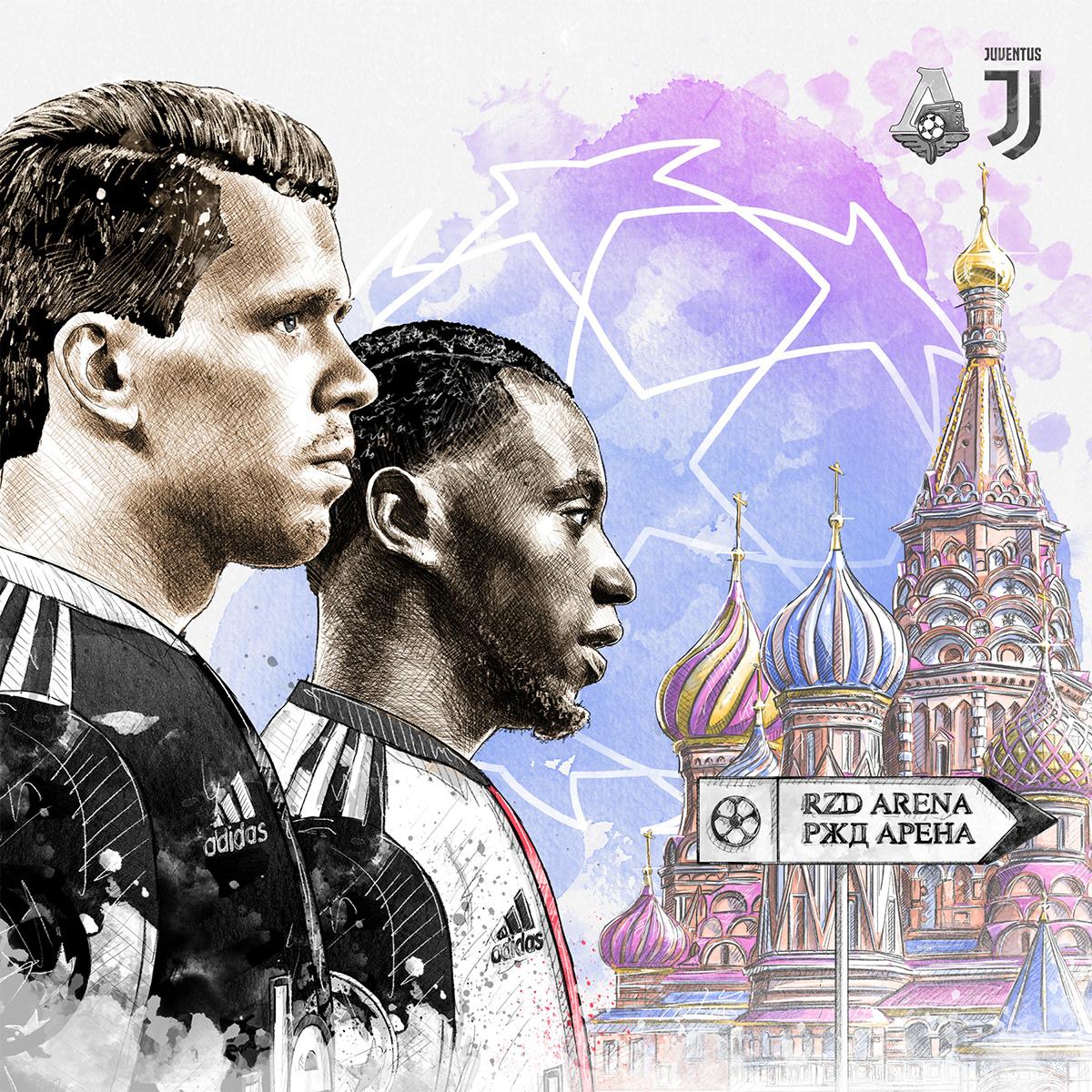 Dynamic sport/football illustration for Juventus vs. Lokomotiv Moscow: Szczesny, Matuidi.