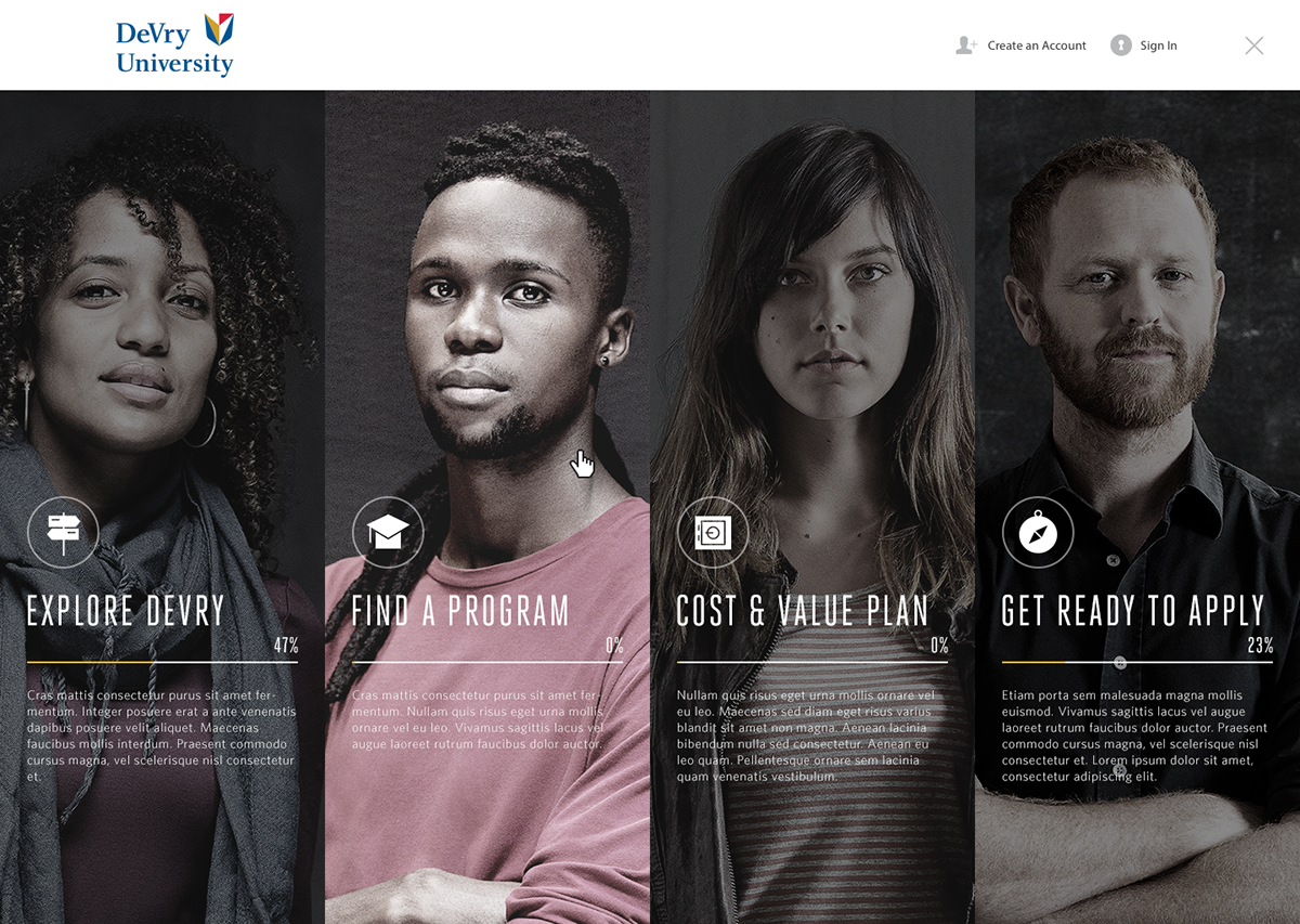 DeVry University Website Design On Behance - Devry university game design