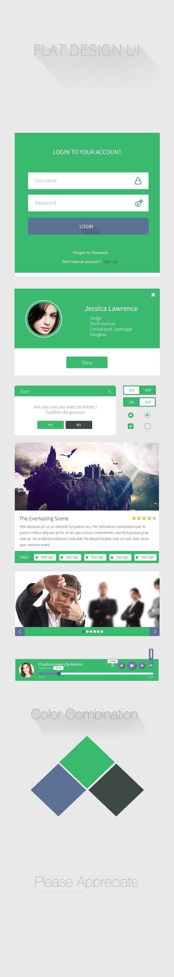 creative design Webdesign flat ux green login UI uikit flat login