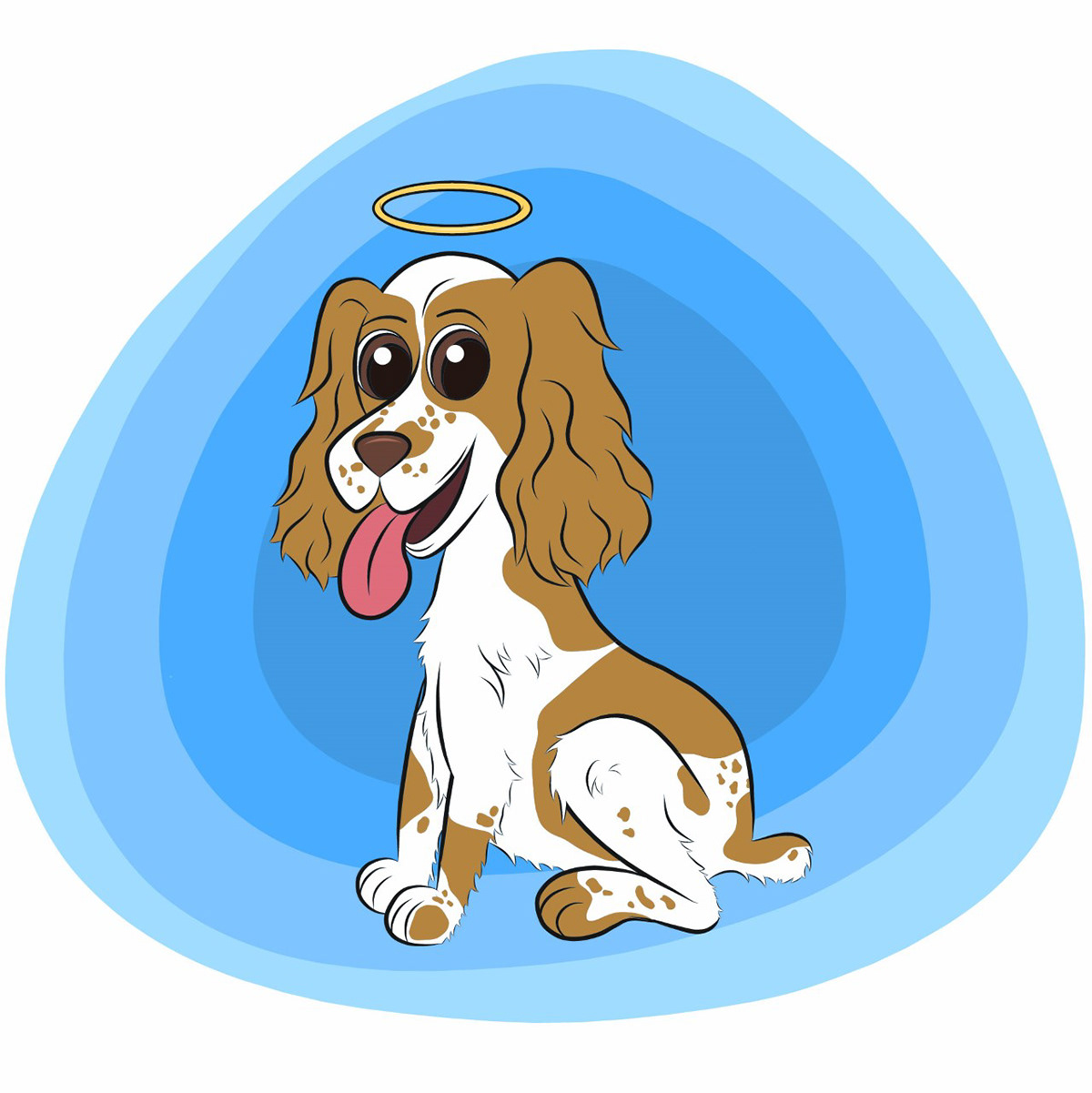 White and brown Coker Spaniel dog