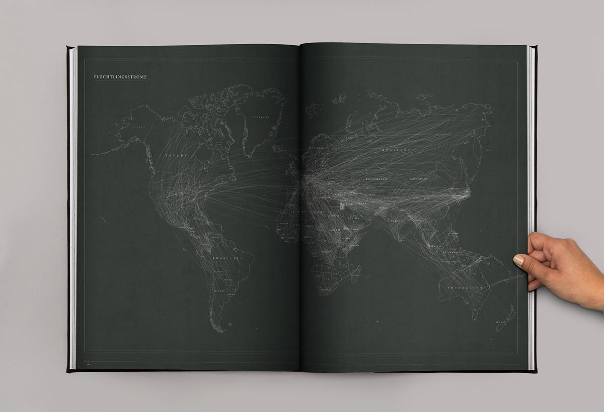 atlas refugee escape home editorial Flüchtlinge Flucht typo emotion infographic ADC award Data asylum Fluchtatlas