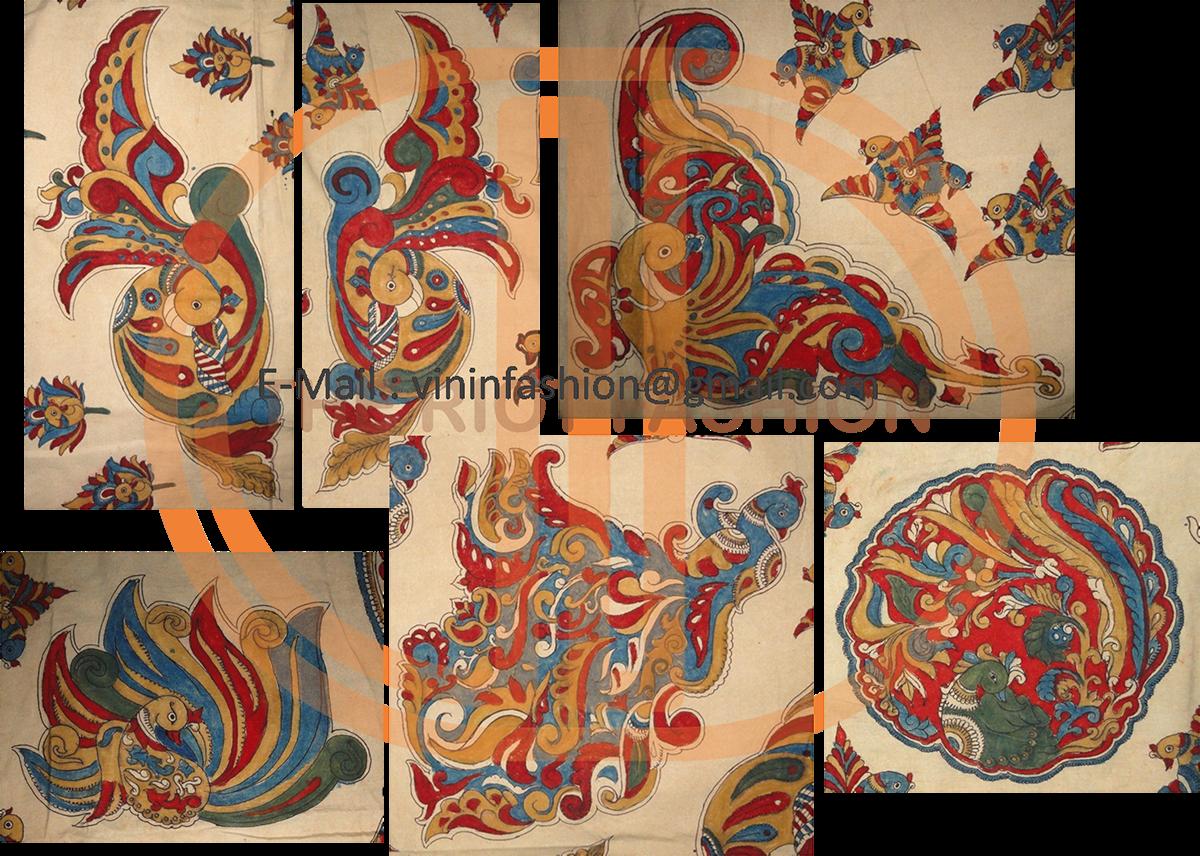 Kalamkari Traditional Fabrics Hand painted fabrics Natural Dye craft Peacock designs women's wear Indian wear organic art