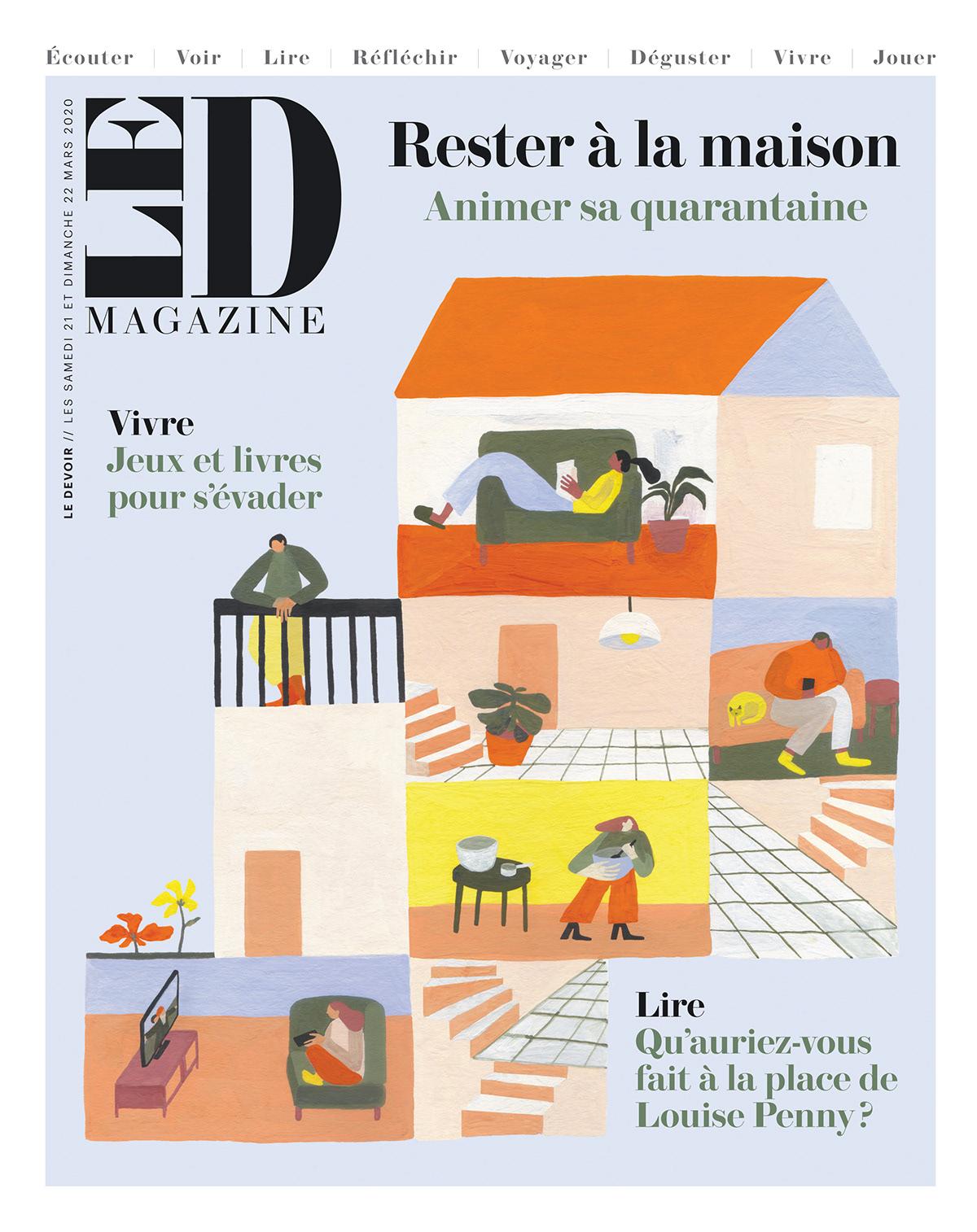 book COVID-19 Culturel home Quarantine stay home editorial ILLUSTRATION  le devoir gouache